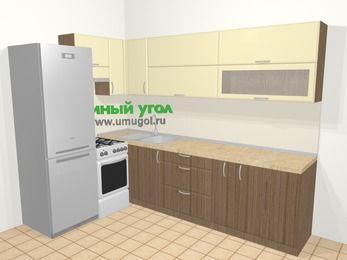 Угловая кухня МДФ матовый в современном стиле 7,2 м², 170 на 270 см, Ваниль / Лиственница бронзовая, верхние модули 72 см, холодильник, отдельно стоящая плита
