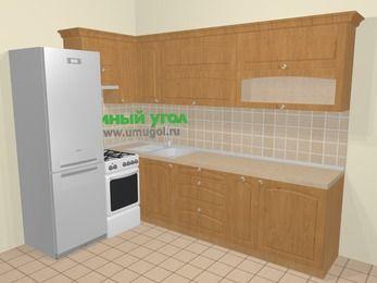 Угловая кухня МДФ матовый в стиле кантри 7,2 м², 170 на 270 см, Ольха, верхние модули 72 см, холодильник, отдельно стоящая плита