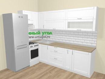 Угловая кухня МДФ матовый  в скандинавском стиле 7,2 м², 170 на 270 см, Белый, верхние модули 72 см, холодильник, отдельно стоящая плита