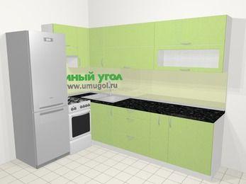 Угловая кухня МДФ металлик в современном стиле 7,2 м², 170 на 270 см, Салатовый металлик, верхние модули 72 см, холодильник, отдельно стоящая плита