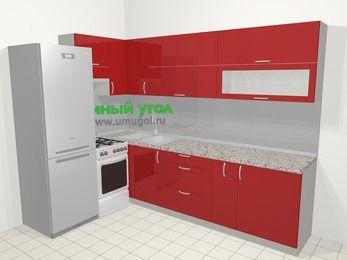 Угловая кухня МДФ глянец в современном стиле 7,2 м², 170 на 270 см, Красный, верхние модули 72 см, холодильник, отдельно стоящая плита