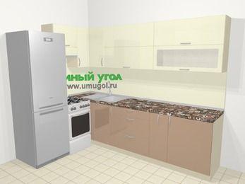 Угловая кухня МДФ глянец в современном стиле 7,2 м², 170 на 270 см, Жасмин / Капучино, верхние модули 72 см, холодильник, отдельно стоящая плита