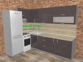 Угловая кухня МДФ глянец в стиле лофт 7,2 м², 170 на 270 см, Шоколад, верхние модули 72 см, холодильник, отдельно стоящая плита