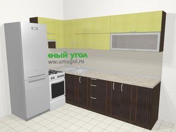 Кухни пластиковые угловые в современном стиле 7,2 м², 170 на 270 см, Желтый Галлион глянец / Дерево Мокка, верхние модули 72 см, холодильник, отдельно стоящая плита