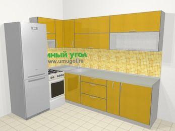 Кухни пластиковые угловые в современном стиле 7,2 м², 170 на 270 см, Желтый глянец, верхние модули 72 см, холодильник, отдельно стоящая плита