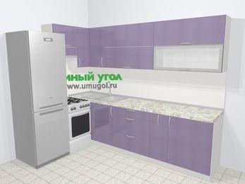 Кухни пластиковые угловые в современном стиле 7,2 м², 170 на 270 см, Сиреневый глянец, верхние модули 72 см, холодильник, отдельно стоящая плита