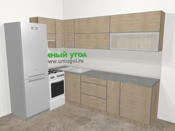 Кухни пластиковые угловые в стиле лофт 7,2 м², 170 на 270 см, Чибли бежевый, верхние модули 72 см, холодильник, отдельно стоящая плита