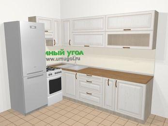 Угловая кухня МДФ патина в классическом стиле 7,2 м², 170 на 270 см, Лиственница белая, верхние модули 72 см, холодильник, отдельно стоящая плита