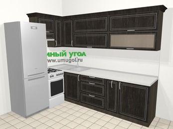 Угловая кухня МДФ патина в классическом стиле 7,2 м², 170 на 270 см, Венге, верхние модули 72 см, холодильник, отдельно стоящая плита