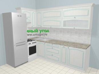 Угловая кухня МДФ патина в стиле прованс 7,2 м², 170 на 270 см, Лиственница белая, верхние модули 72 см, холодильник, отдельно стоящая плита