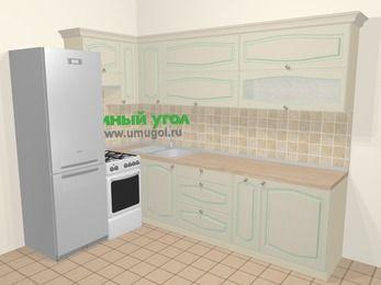 Угловая кухня МДФ патина в стиле прованс 7,2 м², 170 на 270 см, Керамик, верхние модули 72 см, холодильник, отдельно стоящая плита