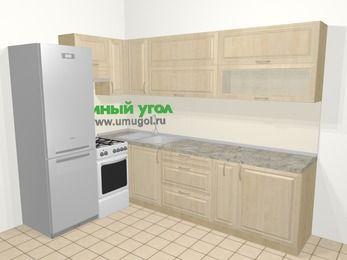 Угловая кухня из массива дерева в классическом стиле 7,2 м², 170 на 270 см, Светло-коричневые оттенки, верхние модули 72 см, холодильник, отдельно стоящая плита