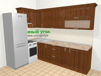 Угловая кухня из массива дерева в классическом стиле 7,2 м², 170 на 270 см, Темно-коричневые оттенки, верхние модули 72 см, холодильник, отдельно стоящая плита