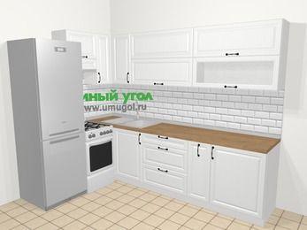 Угловая кухня из массива дерева в скандинавском стиле 7,2 м², 170 на 270 см, Белые оттенки, верхние модули 72 см, холодильник, отдельно стоящая плита