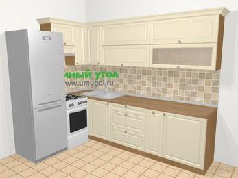 Угловая кухня из массива дерева в стиле кантри 7,2 м², 170 на 270 см, Бежевые оттенки, верхние модули 72 см, холодильник, отдельно стоящая плита