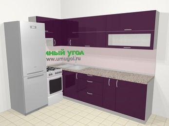 Угловая кухня МДФ глянец в современном стиле 7,2 м², 170 на 270 см, Баклажан, верхние модули 72 см, холодильник, отдельно стоящая плита