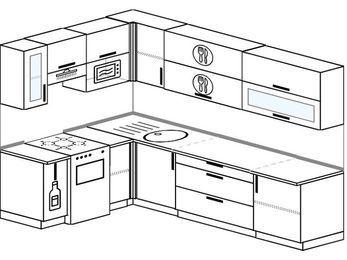 Угловая кухня 7,2 м² (1,7✕2,7 м), верхние модули 72 см, верхний модуль под свч, отдельно стоящая плита