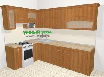 Угловая кухня МДФ матовый в классическом стиле 7,2 м², 170 на 270 см, Вишня, верхние модули 72 см, верхний модуль под свч, отдельно стоящая плита