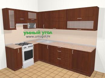 Угловая кухня МДФ матовый в классическом стиле 7,2 м², 170 на 270 см, Вишня темная, верхние модули 72 см, верхний модуль под свч, отдельно стоящая плита