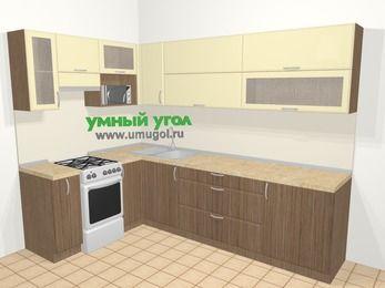 Угловая кухня МДФ матовый в современном стиле 7,2 м², 170 на 270 см, Ваниль / Лиственница бронзовая, верхние модули 72 см, верхний модуль под свч, отдельно стоящая плита