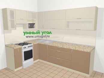 Угловая кухня МДФ матовый в современном стиле 7,2 м², 170 на 270 см, Керамик / Кофе, верхние модули 72 см, верхний модуль под свч, отдельно стоящая плита