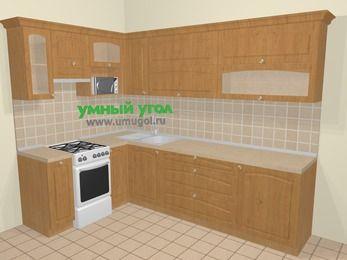 Угловая кухня МДФ матовый в стиле кантри 7,2 м², 170 на 270 см, Ольха, верхние модули 72 см, верхний модуль под свч, отдельно стоящая плита