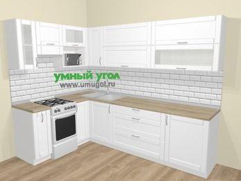 Угловая кухня МДФ матовый  в скандинавском стиле 7,2 м², 170 на 270 см, Белый, верхние модули 72 см, верхний модуль под свч, отдельно стоящая плита