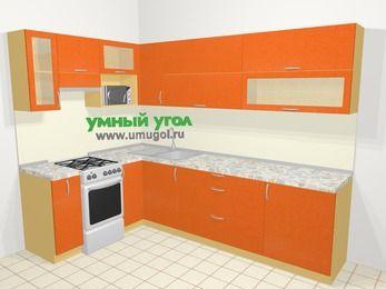 Угловая кухня МДФ металлик в современном стиле 7,2 м², 170 на 270 см, Оранжевый металлик, верхние модули 72 см, верхний модуль под свч, отдельно стоящая плита