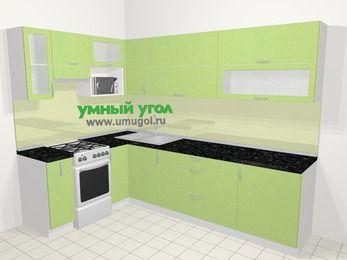 Угловая кухня МДФ металлик в современном стиле 7,2 м², 170 на 270 см, Салатовый металлик, верхние модули 72 см, верхний модуль под свч, отдельно стоящая плита