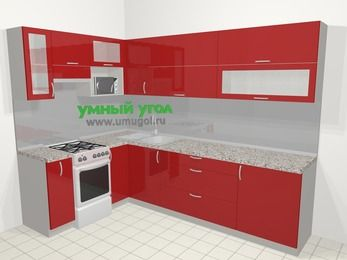 Угловая кухня МДФ глянец в современном стиле 7,2 м², 170 на 270 см, Красный, верхние модули 72 см, верхний модуль под свч, отдельно стоящая плита