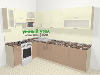 Угловая кухня МДФ глянец в современном стиле 7,2 м², 170 на 270 см, Жасмин / Капучино, верхние модули 72 см, верхний модуль под свч, отдельно стоящая плита