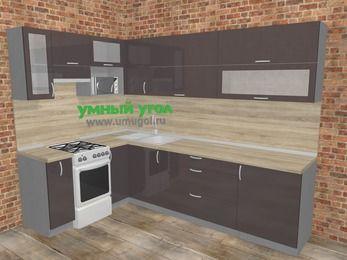 Угловая кухня МДФ глянец в стиле лофт 7,2 м², 170 на 270 см, Шоколад, верхние модули 72 см, верхний модуль под свч, отдельно стоящая плита