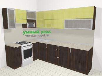 Кухни пластиковые угловые в современном стиле 7,2 м², 170 на 270 см, Желтый Галлион глянец / Дерево Мокка, верхние модули 72 см, верхний модуль под свч, отдельно стоящая плита