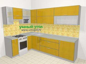 Кухни пластиковые угловые в современном стиле 7,2 м², 170 на 270 см, Желтый глянец, верхние модули 72 см, верхний модуль под свч, отдельно стоящая плита