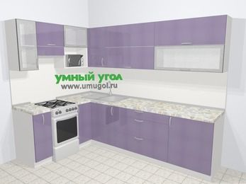 Кухни пластиковые угловые в современном стиле 7,2 м², 170 на 270 см, Сиреневый глянец, верхние модули 72 см, верхний модуль под свч, отдельно стоящая плита