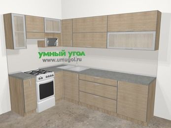 Кухни пластиковые угловые в стиле лофт 7,2 м², 170 на 270 см, Чибли бежевый, верхние модули 72 см, верхний модуль под свч, отдельно стоящая плита
