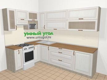 Угловая кухня МДФ патина в классическом стиле 7,2 м², 170 на 270 см, Лиственница белая, верхние модули 72 см, верхний модуль под свч, отдельно стоящая плита