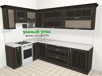 Угловая кухня МДФ патина в классическом стиле 7,2 м², 170 на 270 см, Венге, верхние модули 72 см, верхний модуль под свч, отдельно стоящая плита