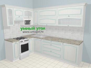 Угловая кухня МДФ патина в стиле прованс 7,2 м², 170 на 270 см, Лиственница белая, верхние модули 72 см, верхний модуль под свч, отдельно стоящая плита