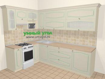 Угловая кухня МДФ патина в стиле прованс 7,2 м², 170 на 270 см, Керамик, верхние модули 72 см, верхний модуль под свч, отдельно стоящая плита