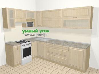 Угловая кухня из массива дерева в классическом стиле 7,2 м², 170 на 270 см, Светло-коричневые оттенки, верхние модули 72 см, верхний модуль под свч, отдельно стоящая плита