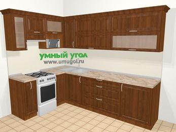 Угловая кухня из массива дерева в классическом стиле 7,2 м², 170 на 270 см, Темно-коричневые оттенки, верхние модули 72 см, верхний модуль под свч, отдельно стоящая плита