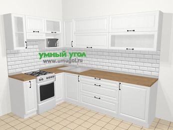 Угловая кухня из массива дерева в скандинавском стиле 7,2 м², 170 на 270 см, Белые оттенки, верхние модули 72 см, верхний модуль под свч, отдельно стоящая плита