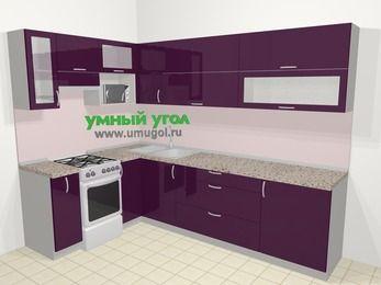 Угловая кухня МДФ глянец в современном стиле 7,2 м², 170 на 270 см, Баклажан, верхние модули 72 см, верхний модуль под свч, отдельно стоящая плита