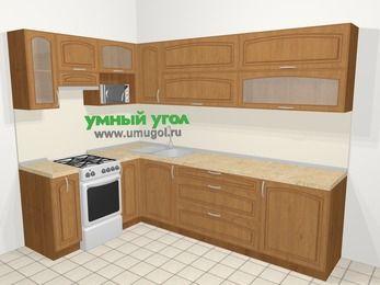 Угловая кухня МДФ патина в классическом стиле 7,2 м², 170 на 270 см, Ольха, верхние модули 72 см, верхний модуль под свч, отдельно стоящая плита
