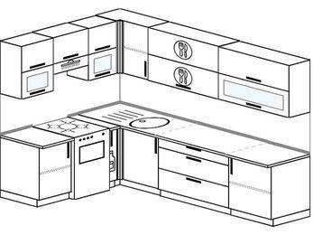 Угловая кухня 7,2 м² (1,7✕2,7 м), верхние модули 72 см, отдельно стоящая плита