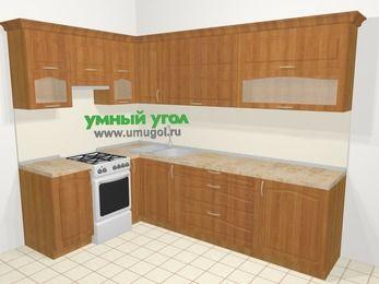 Угловая кухня МДФ матовый в классическом стиле 7,2 м², 170 на 270 см, Вишня, верхние модули 72 см, отдельно стоящая плита