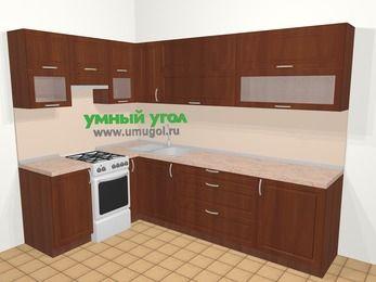 Угловая кухня МДФ матовый в классическом стиле 7,2 м², 170 на 270 см, Вишня темная, верхние модули 72 см, отдельно стоящая плита