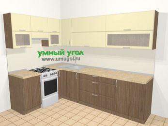 Угловая кухня МДФ матовый в современном стиле 7,2 м², 170 на 270 см, Ваниль / Лиственница бронзовая, верхние модули 72 см, отдельно стоящая плита