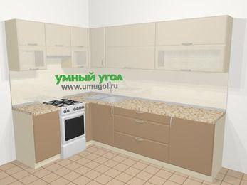 Угловая кухня МДФ матовый в современном стиле 7,2 м², 170 на 270 см, Керамик / Кофе, верхние модули 72 см, отдельно стоящая плита